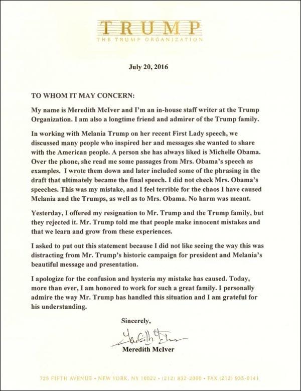 McIver Letter