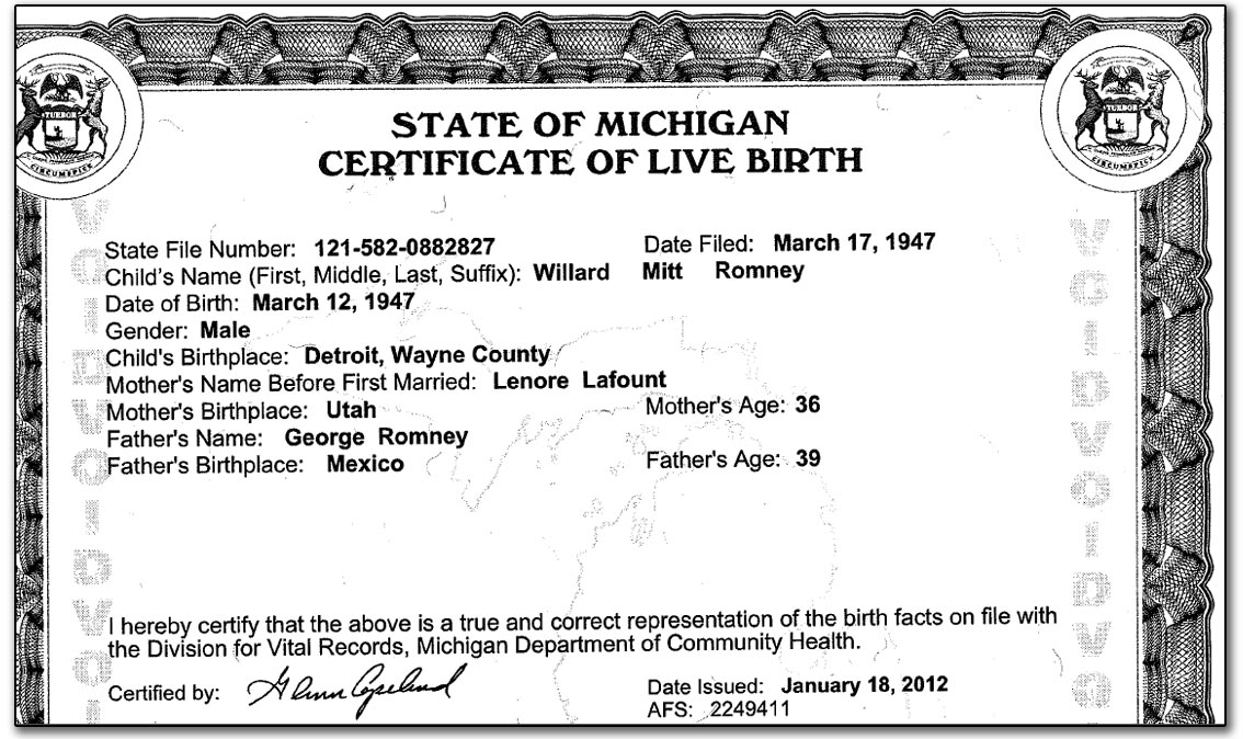Mitt romney mexican anchor baby releases fake birth for Novelty birth certificate template