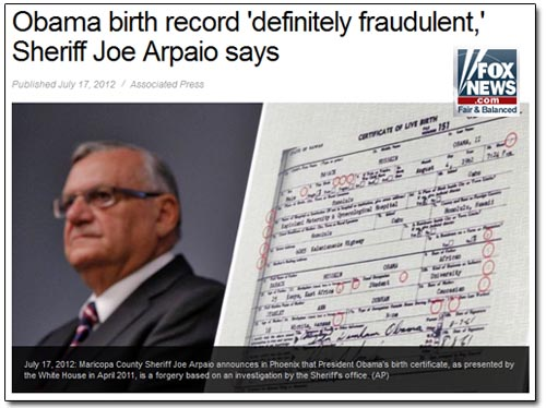 Fox News Birther Arpaio