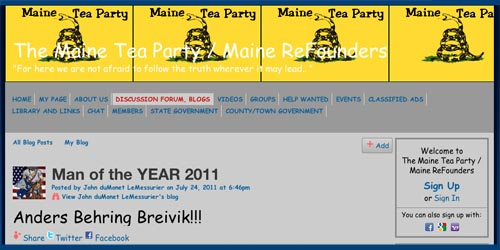 Maine Tea Party - Breivik