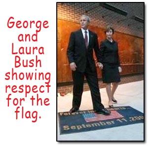 Bush walks on flag