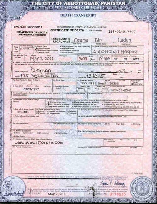 Osama Bin Ladens Death Certificate News Corpse