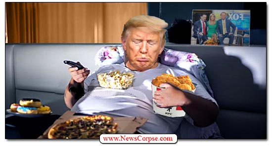 Trump in Bed, Eating, Sad