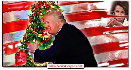 Donald Trump Hugs Christmas Tree
